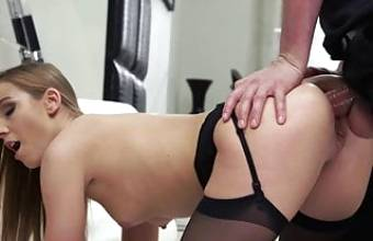 A girl from an escort service pleases a man