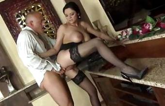 ANASTASIA BRILL in black stockings gets fucked hard