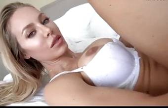 Blonde with big tits plays with a big dick. Facial