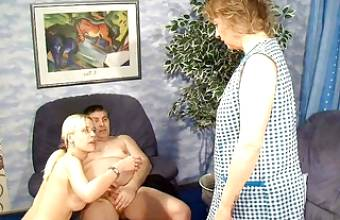 CRAZY GERMAN COUPLE FUCK IN FRONT OF MATURE MAID
