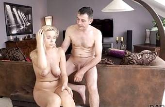 DADDY4K. Daddy fucks mouth and pussy of brilliant son