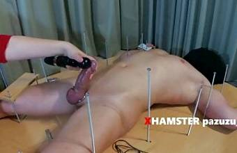 Feet Tickling to chastity slave+Ruined Orgasm with Vibrator