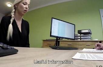 First porn casting of Karol in office of loan manager