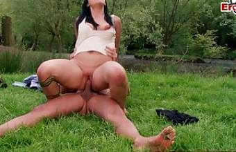GERMAN HORNY MILF SEDUCES GUY AT CAR ACCIDENT OUTDOOR