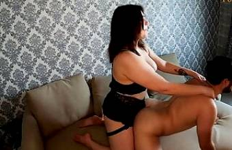 Girl does prostate massage to her boy while parents are not