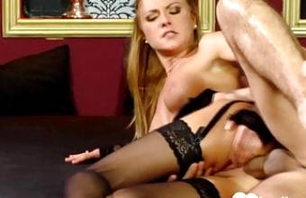 Great blonde babe in stockings gets fucked hard