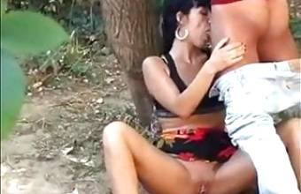 Gypsy Couple Fucking in Wood Classic