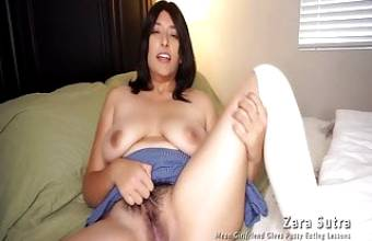 Hairy Pussy Eating Lessons by an American Indian Desi Girl