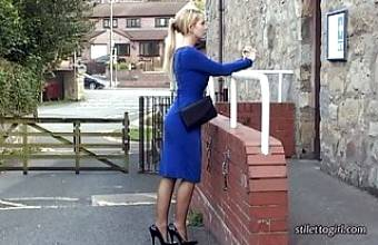 Hot blonde StilettoGirl stimulates shoe fetish in high heels