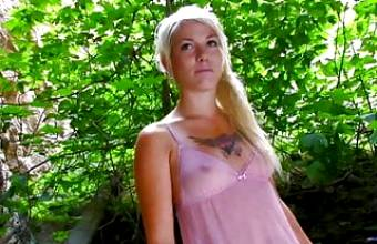 Hot blonde with tattoos gets drilled without mercy