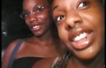 Hot ebony girls Lovely and Blue fucked by a big hard cock