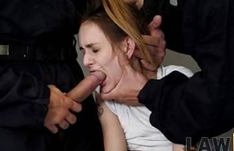 LAW4k. Helpless chick should suck dicks and get banged
