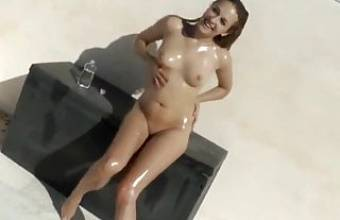 Oiled Teen Fucked from Behind with Cumhot on Her Pussy