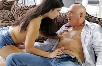 OLD4K. Pretty nice lassie enjoys ass-fucking with old man