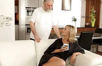 OLD4K. Tender miss and her caring mature gentleman have sex