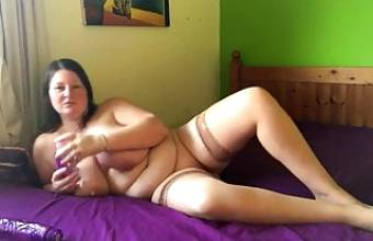 original footage of first time using her huge new dildo