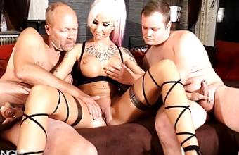 Real German Teen Hooker at Threesome with Father and Son