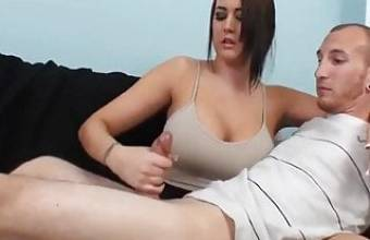Sexy babe jerks off