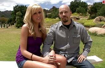 Tall blonde with natural tits lets her cuckold husband watch