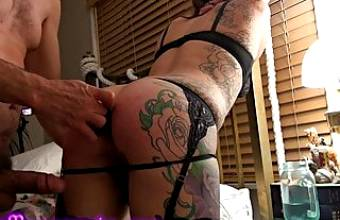 Tied, Whipped, Ass-Fucked, Pussy-Fucked, And Creampied