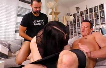 BBW honey Emma Secret works two dicks for fresh sperm