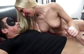 Blonde Milf fucks shy young Guy