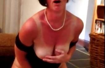 Brit MILF masturbates for her husband's pleasure