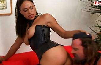 British Ebony milf with big tits has anal sex wearing a corsage