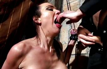Brutal deep throat and fuck, Violet, painful