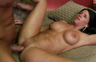 Busty black haired mature doing a hot amateur casting