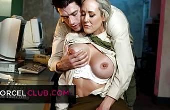Busty Brandi Love is having fun with her sergeant