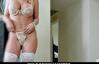 Busty MILF Rachael Cavalli Slobbers Big Cock