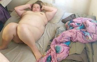 Chubby bear fucks his ex-wife on his bed