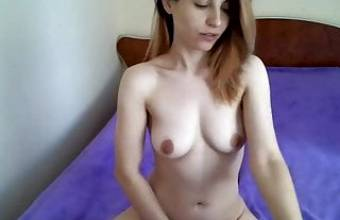 Fingering girl on her bed