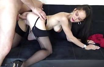 French Marion in interesting black nylons