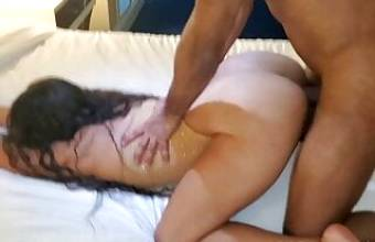 Fucking the wife's tight pussy in front of her husband