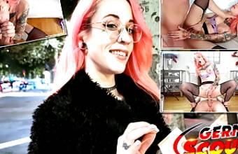 GERMAN SCOUT – CRAZY PINK HAIR GIRL PICKUP AND FUCK FOR CASH