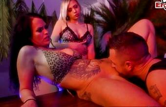 German Sex game show with petite blonde and brunette milf