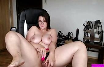 German woman caresses her body