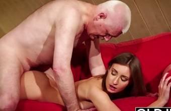 Girl gives grandpa hard erection, then fucks him