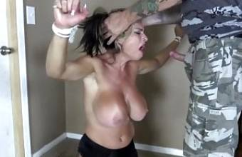Hot bdsm with busty milf. Feel the beauty of sperm