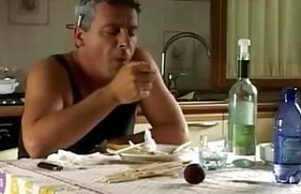 Italian dad punishing his daughter