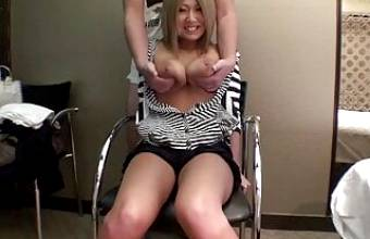 Japanese blonde has amateur sex – big boobs and creampie fucking