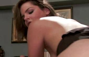 Lovely chick gets wild on the desk and the dude loves it