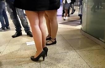 Milf in short black dress, nude pantyhose upskirt, no panties