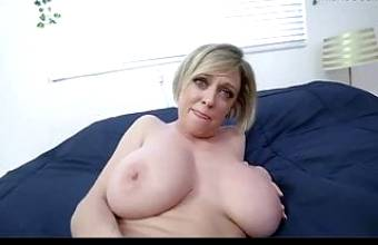 MILF with a thick ass gets titty fucked. Hot, busty whore has sex