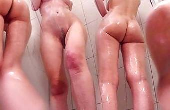 PAWG Teen Shaves Pussy in Dorm Shower. Caught On Hidden Cam