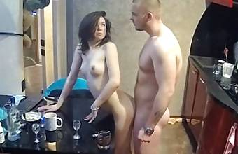 Petite Lovely Milf Has Hard Action With Strong Man