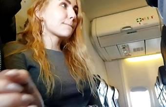 PUBLIC AIRPLANE Handjob and Blowjob – Bella Mur