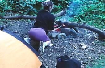 Real Sex in the forest. Fucked a tourist in a tent